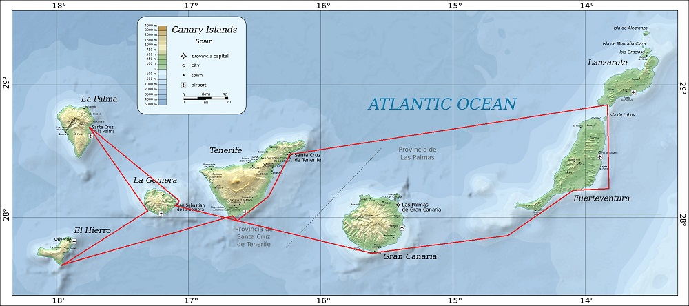 Western Canaries Cruise Map - Carbery Sailing
